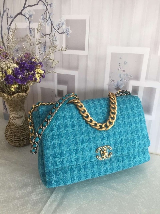 CHANEL 19 Flap Bag AS1162 blue
