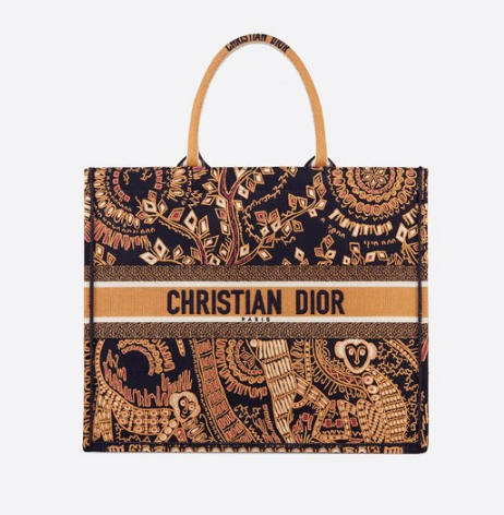 ORANGE AND BLACK DIOR BOOK TOTE DIOR ANIMALS EMBROIDERED CANVAS BAG M747