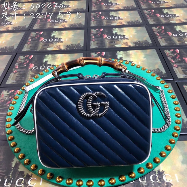 Gucci GG Marmont series small bamboo shoulder bag 602270 royal blue