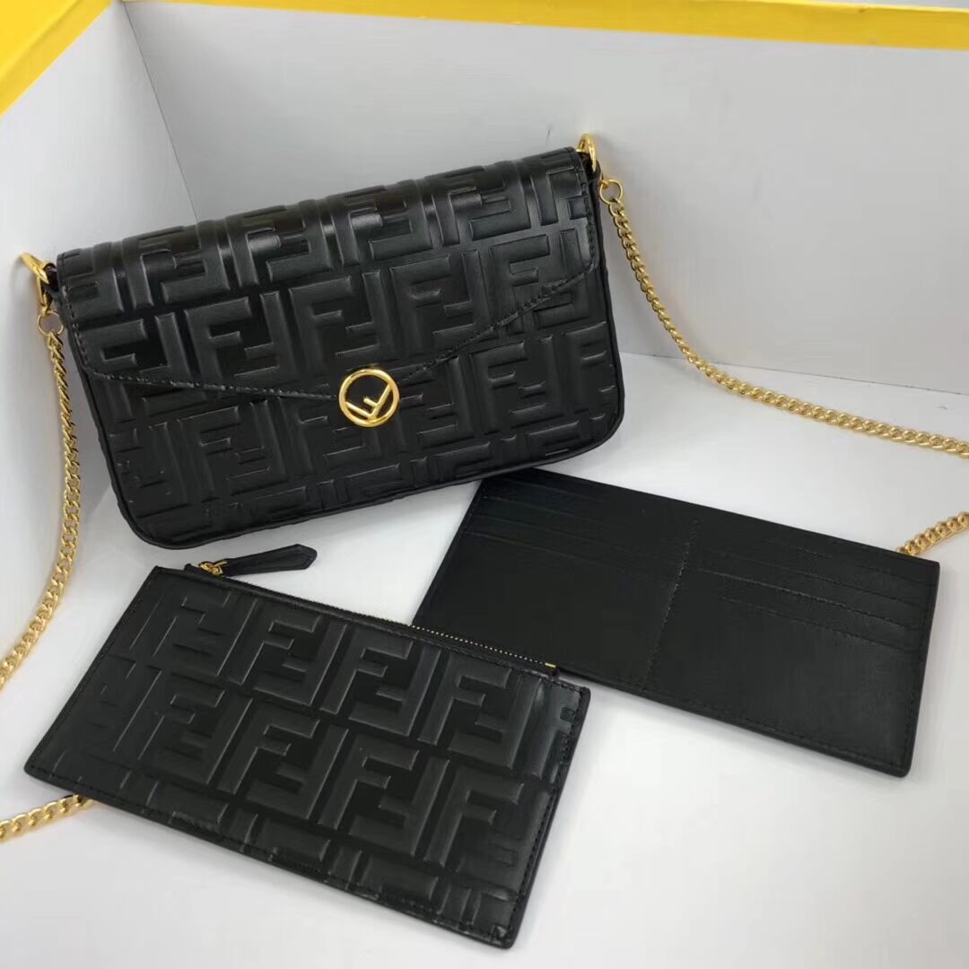 Fendi WALLET ON CHAIN WITH POUCHES leather mini-bag 8BS032 black