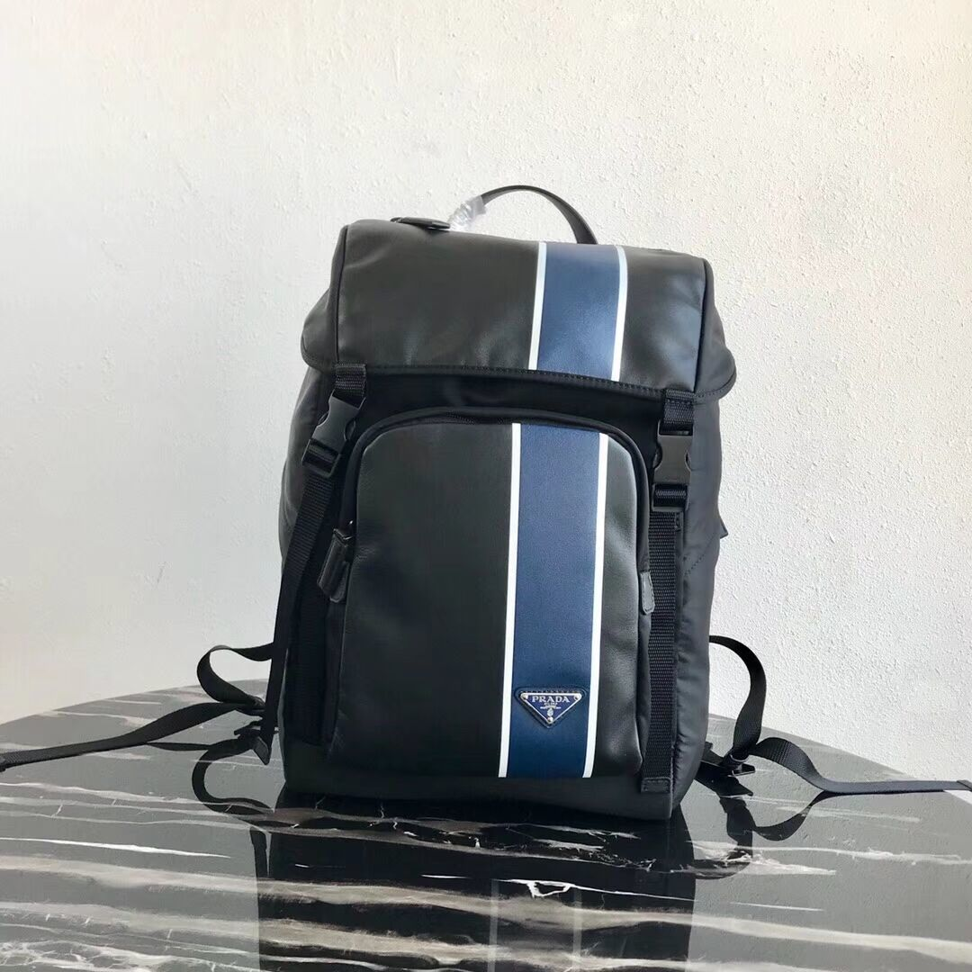 Prada Technical fabric and leather backpack 2VZ135 black&blue