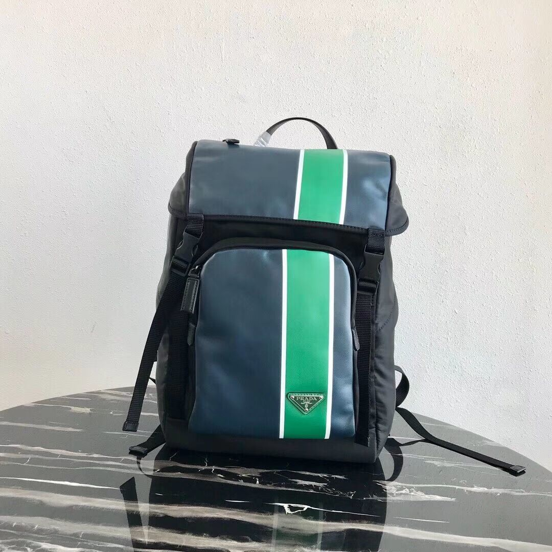 Prada Technical fabric and leather backpack 2VZ135 black&green