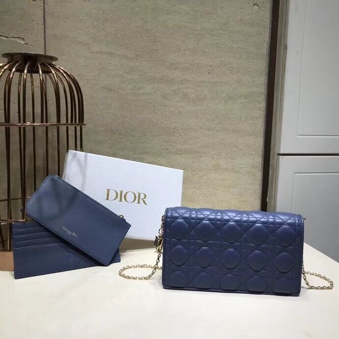 LADY DIOR Sheepskin WALLET C9025A blue