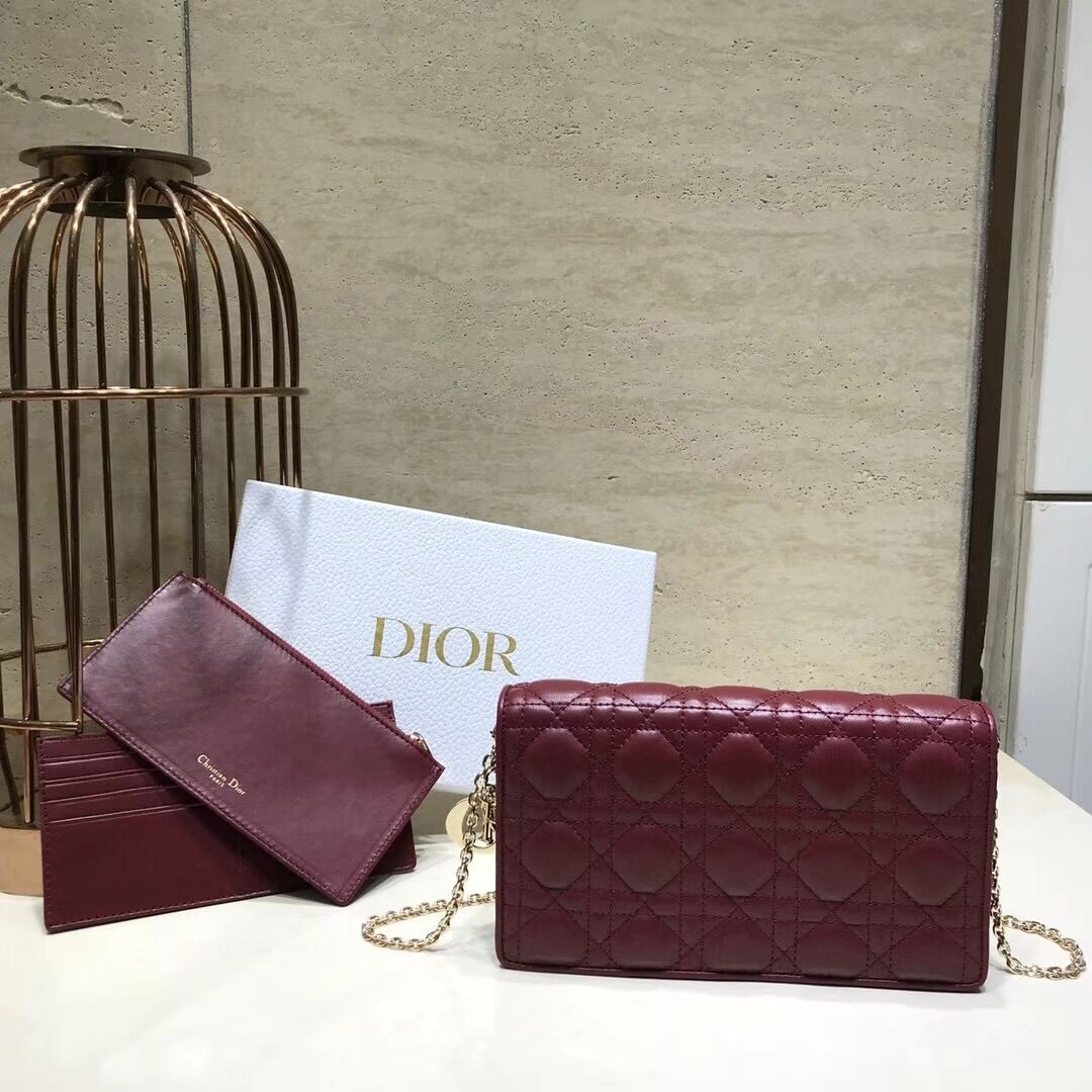 LADY DIOR Sheepskin WALLET C9025A Burgundy