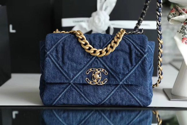 CHANEL Denim 19 Flap Bag AS1160 blue