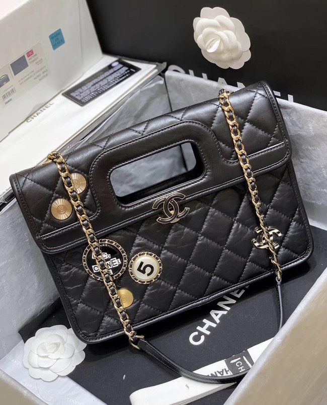 Chanel Original Soft Leather Bag & Gold-Tone Metal AS1430 black