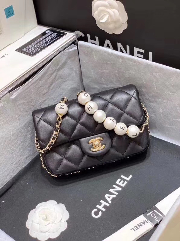 Chanel flap Imitation Pearls bag 88820 black