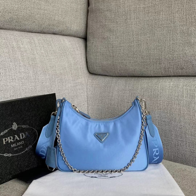 Prada Nylon Shoulder Bag 91277 light blue