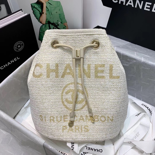 CHANEL Tweed Calfskin drawstring bag & Gold-Tone Metal 60588 white