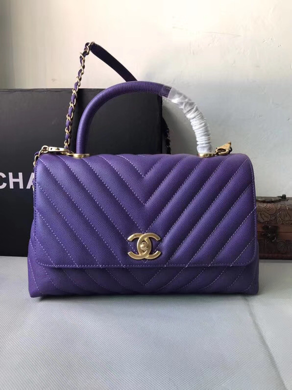 Chanel Flap Bag with Top Handle A92991 purple
