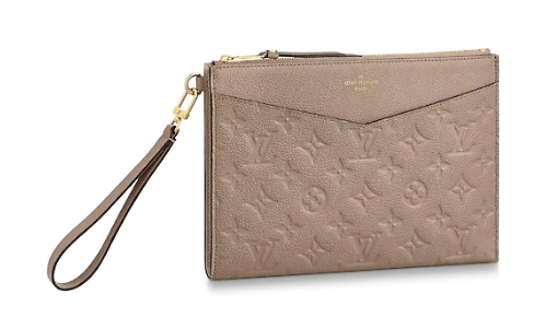 Louis Vuitton Original Monogram Empreinte Clutch bag MELANIE M68705 grey