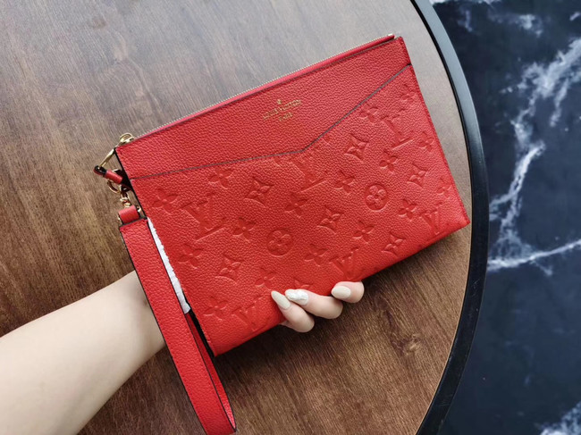 Louis Vuitton Original Monogram Empreinte Clutch bag MELANIE M68705 red