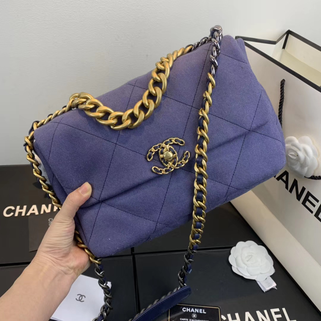 CHANEL 19 Flap Bag AS1160 AS1161 purple