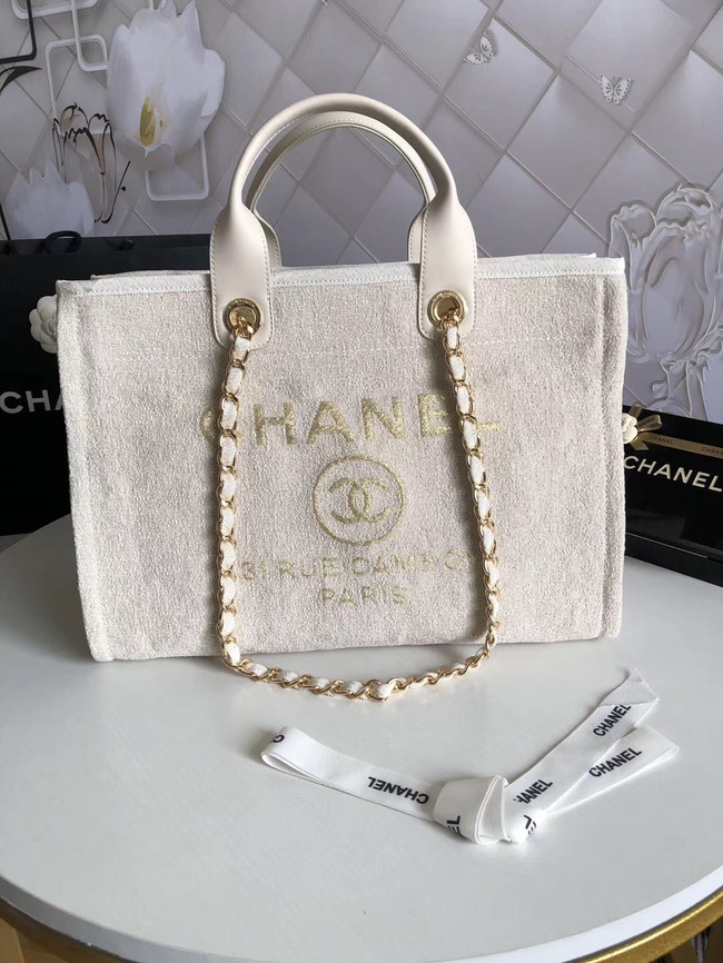 Chanel Canvas Shoulder Shopping Bag 66941 white