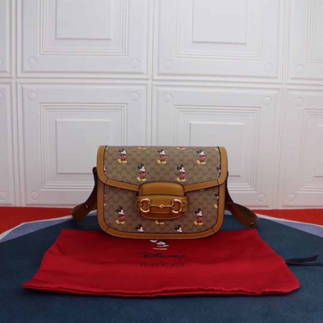 Gucci Disney x Mickey Mouse Small Shoulder Bag 602204 Brown