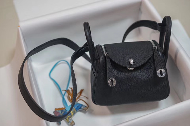 Hermes mini Lindy Togo Leather Bag LD19 black&Silver-Tone Metal