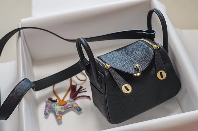 Hermes mini Lindy Togo Leather Bag LD19 black&gold-Tone Metal