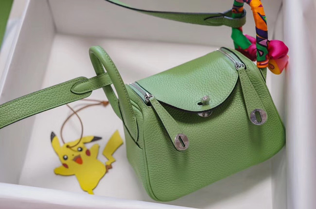 Hermes mini Lindy Togo Leather Bag LD19 green&Silver-Tone Metal