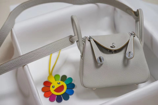 Hermes mini Lindy Togo Leather Bag LD19 grey&Silver-Tone Metal