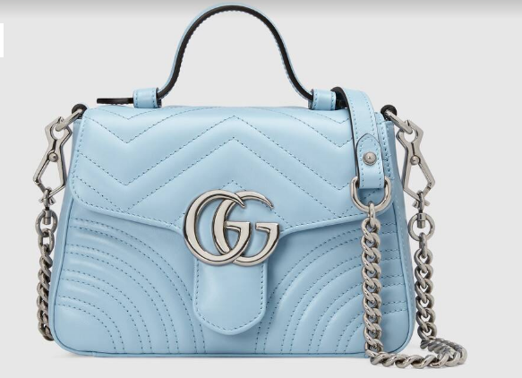 Gucci GG Marmont mini top handle bag 547260 light blue
