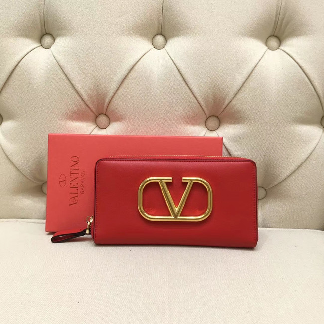 VALENTINO Origianl leather Zipped Wallet VG0088 red