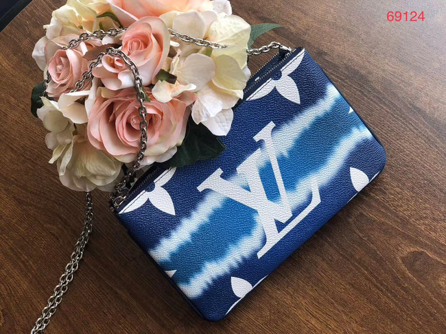 Louis vuitton original ESCALE POCHETTE DOUBLE ZIP clutch bag M69124 blue