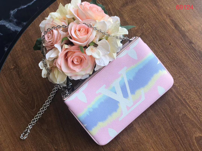 Louis vuitton original ESCALE POCHETTE DOUBLE ZIP clutch bag M69124 pink