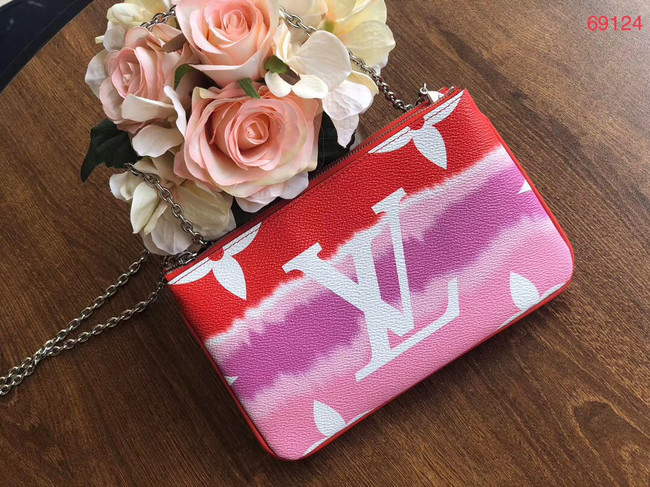 Louis vuitton original ESCALE POCHETTE DOUBLE ZIP clutch bag M69124 red