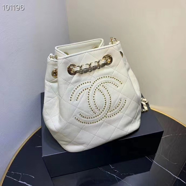 CHANEL Calfskin small Backpack & gold-Tone Metal AS1614 white