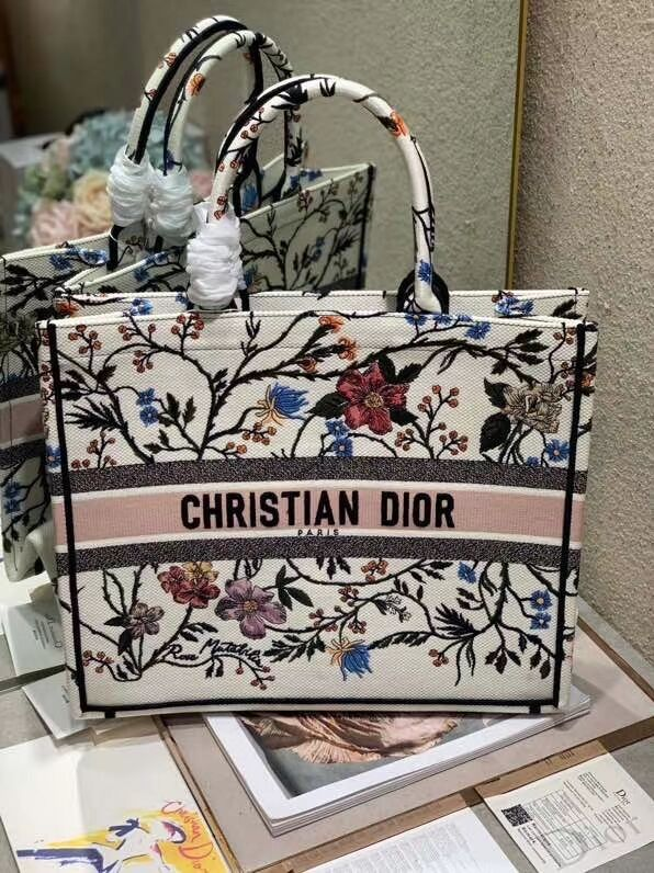 DIOR BOOK TOTE EMBROIDERED CANVAS BAG C1287-13