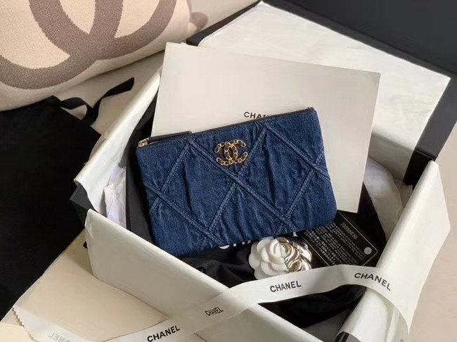 Chanel 19 small carry on bag AP1059 blue
