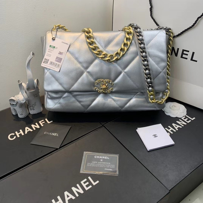 Chanel 19 flap bag AS1161 silver