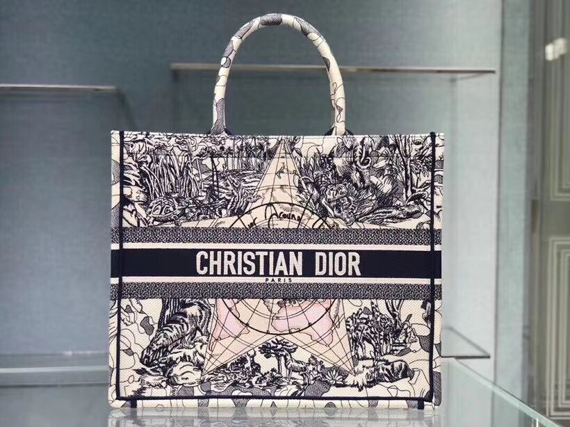 DIOR BOOK TOTE EMBROIDERED CANVAS BAG C1286-16