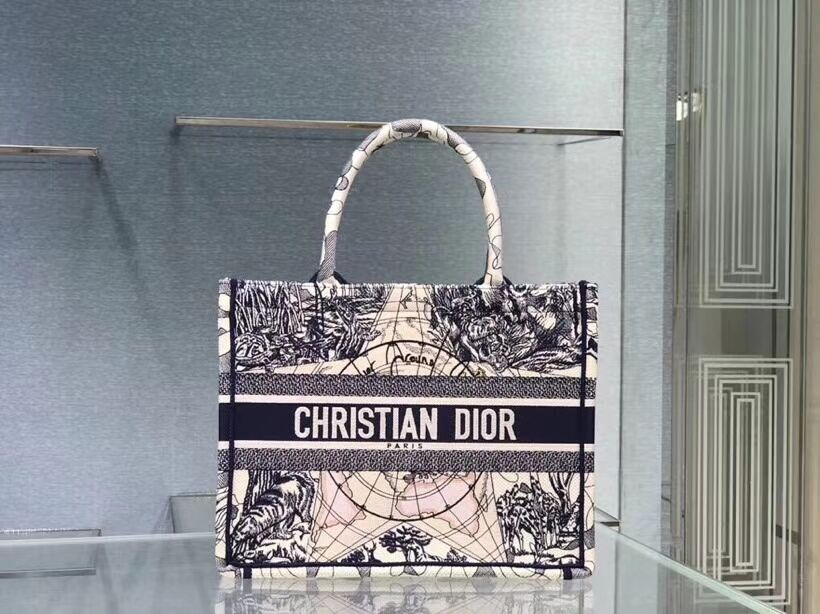 DIOR BOOK TOTE EMBROIDERED CANVAS BAG C1287-18