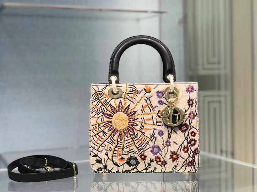 LADY DIOR DIOR TOTE EMBROIDERED CANVAS BAG CA0111-2