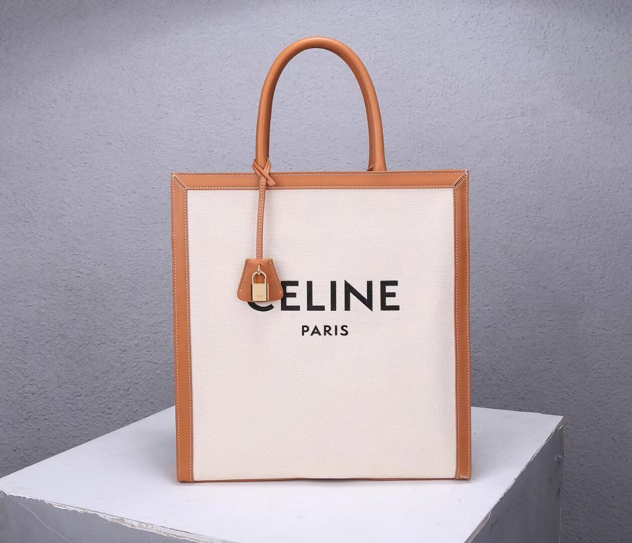 Celine TEEN TRIOMPHE BAG IN TRIOMPHE CANVAS AND CALFSKIN CL90402 white