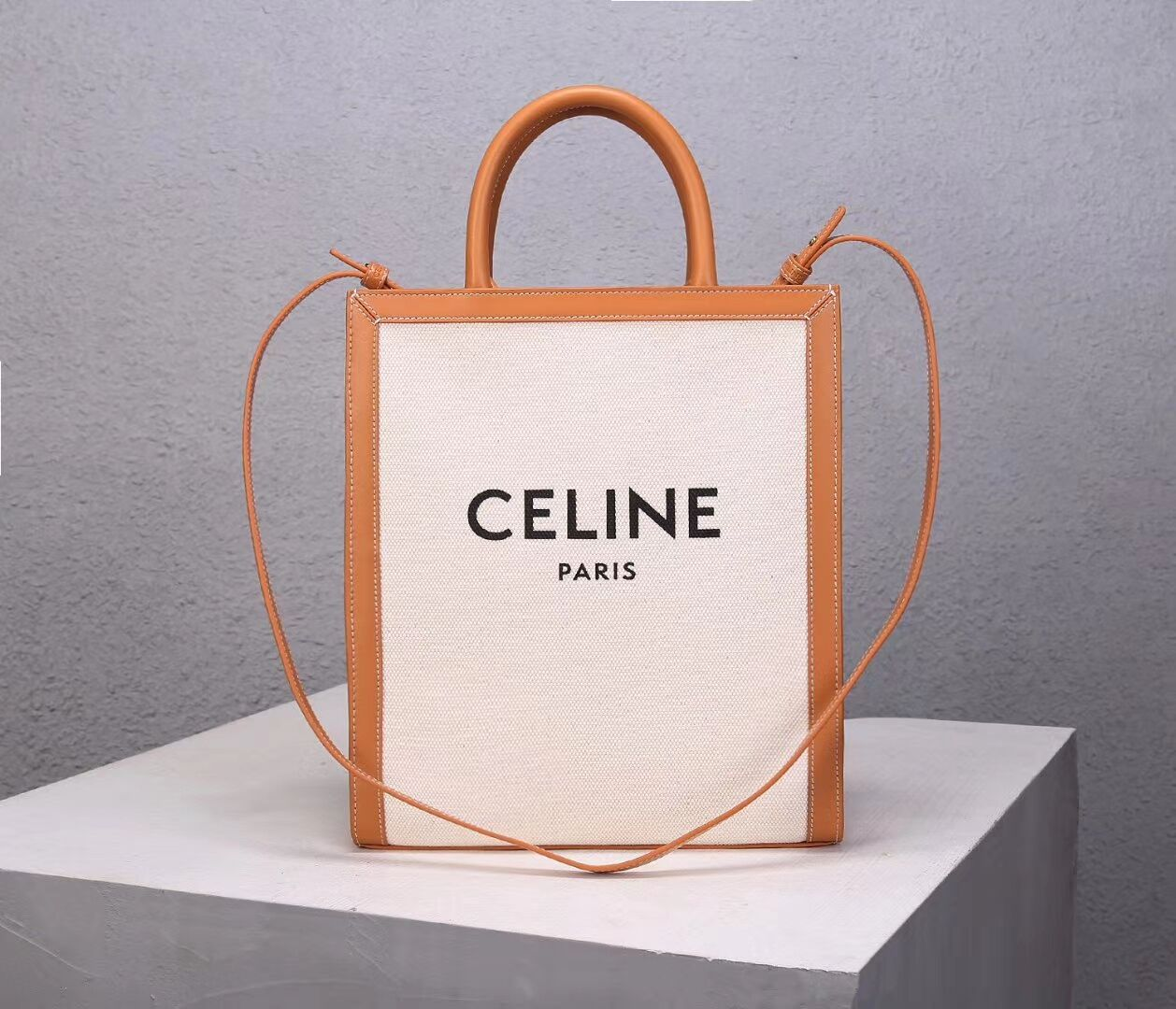 Celine TEEN TRIOMPHE BAG IN TRIOMPHE CANVAS AND CALFSKIN CL91041 white
