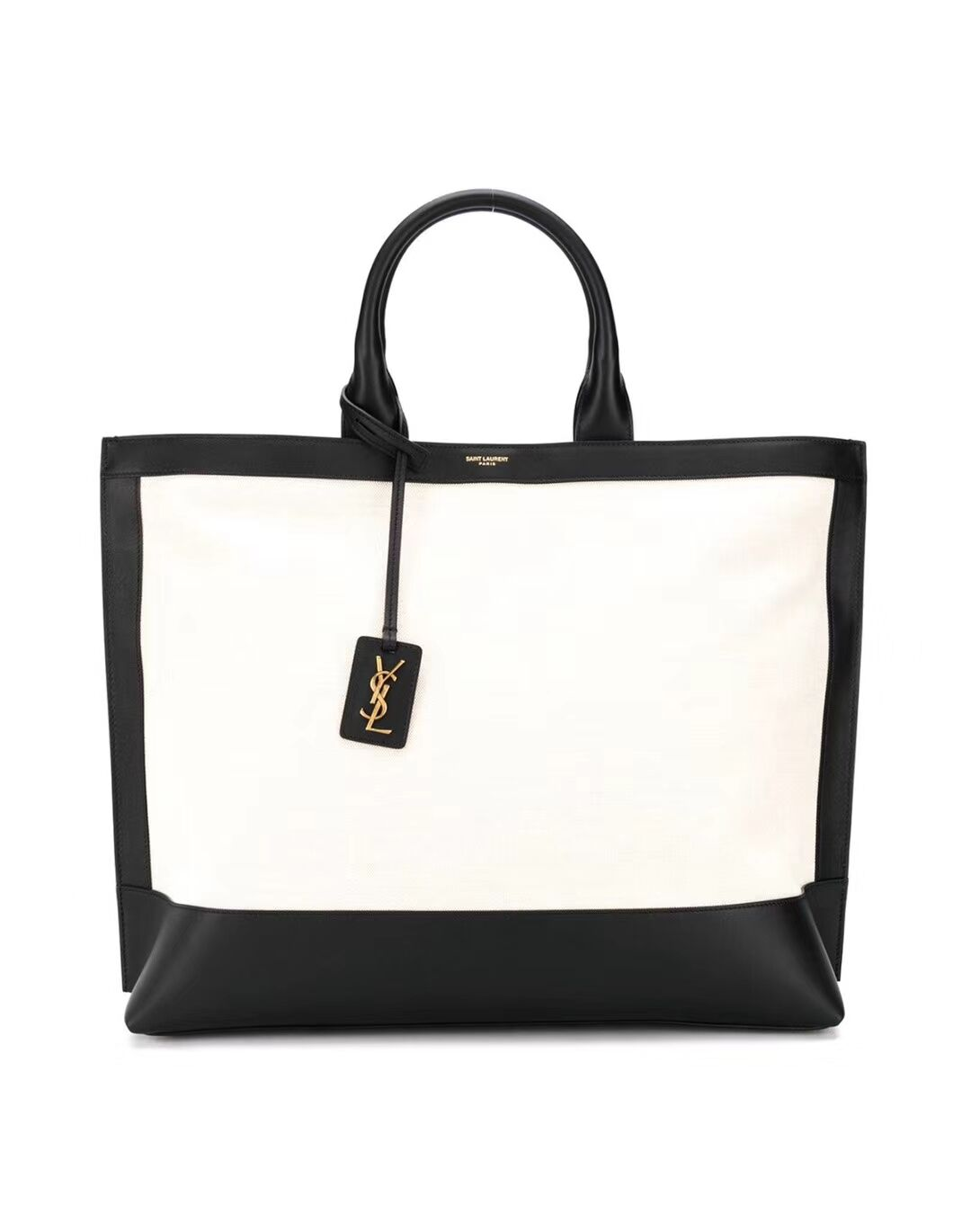 Yves Saint Laurent SHOPPING TAG IN CANVAS AND LEATHER Y615719 black&white