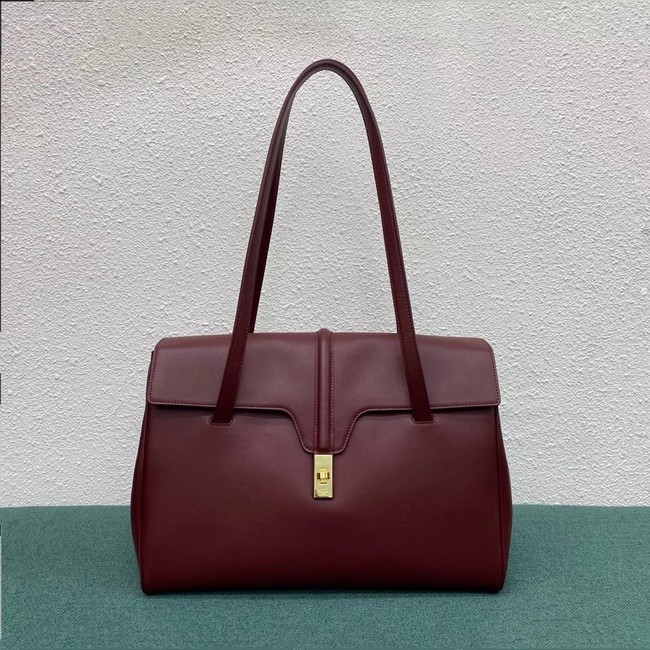 Celine LARGE SOFT 16 BAG IN SUPPLE GRAINED CALFSKIN 194043 Burgundy