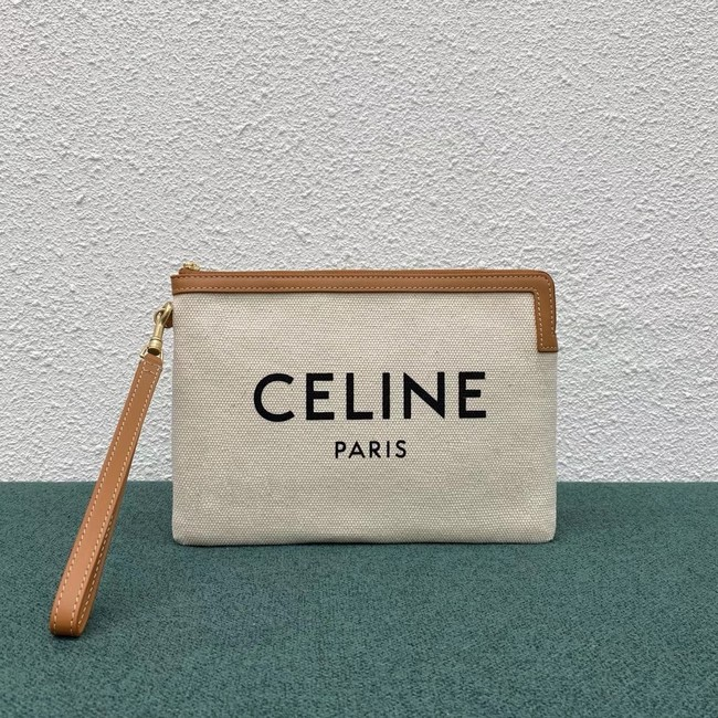 Celine CLUTCHES LARGE POUCH IN COTTON WITH CELINE PRINT AND CALFSKIN 100672 BROWN