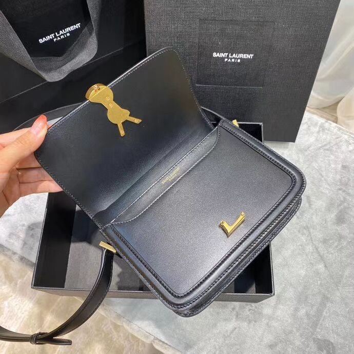 SOLFERINO SMALL SATCHEL IN BOX SAINT LAURENT LEATHER 63430 black