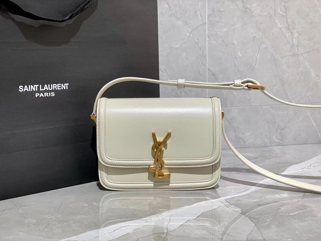 SOLFERINO SMALL SATCHEL IN BOX SAINT LAURENT LEATHER 63430 white