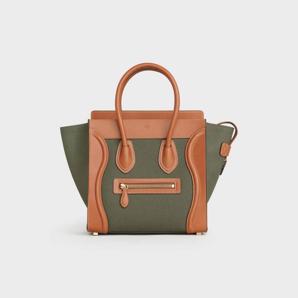CELINE MICRO LUGGAGE HANDBAG IN TEXTILE AND CALFSKIN 167793 TAN&Khaki