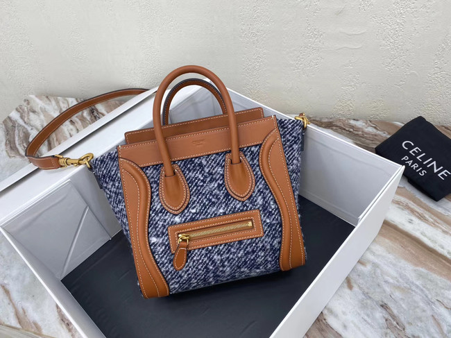 CELINE NANO LUGGAGE BAG IN FLORAL JACQUARD AND CALFSKIN 189242 TAN&BLUE