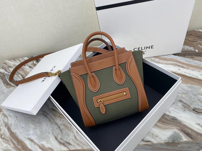 CELINE NANO LUGGAGE BAG IN FLORAL JACQUARD AND CALFSKIN 189242 TAN&Khaki