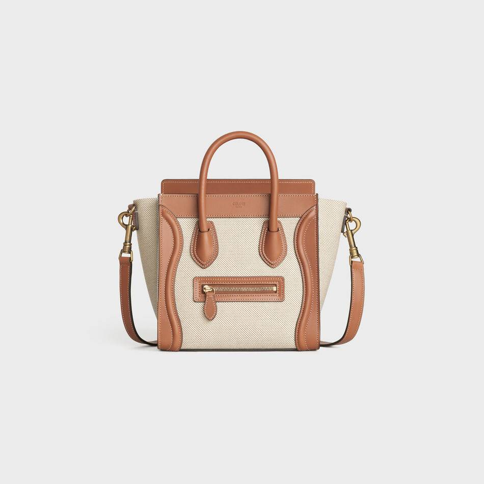 CELINE NANO LUGGAGE BAG IN FLORAL JACQUARD AND CALFSKIN 189242 TAN&WHITE