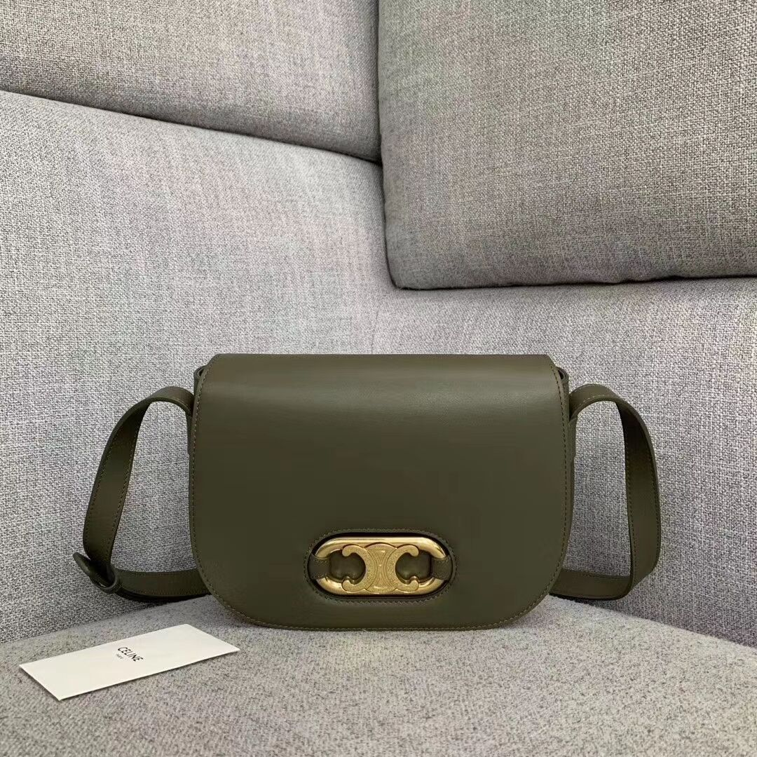 CELINE Original Leather Bag CL93123 brown blackish green