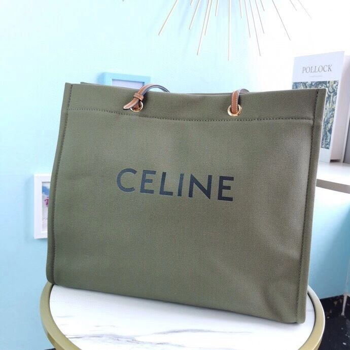 Celine Original Leather shopping Bag CL92172 blackish green