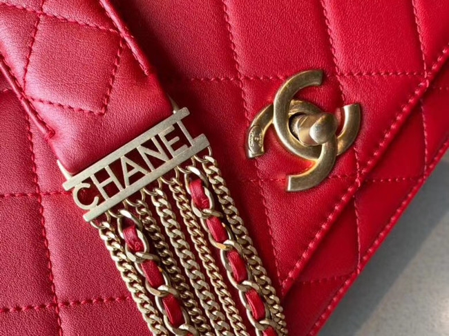 Chanel small flap bag Lambskin & Gold-Tone Metal AS2052 red