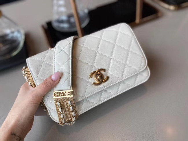 Chanel small flap bag Lambskin & Gold-Tone Metal AS2052 white